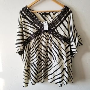 NEW Lane Bryant Zebra Print Cold Shoulder Blouse